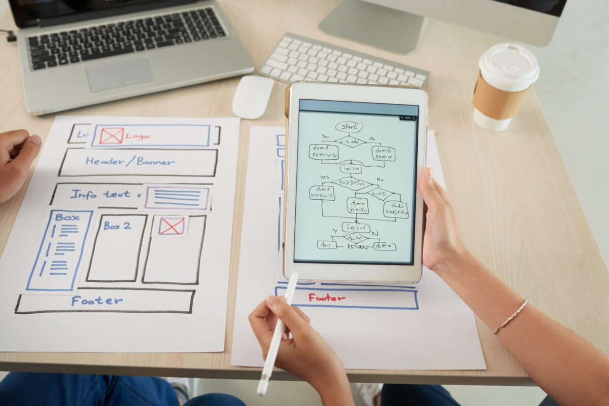 website design and UI sketching